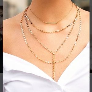 Baublebar AMBER LAYERED Y-CHAIN NECKLACE-GOLD